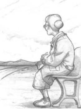 Senhora velha contemplando