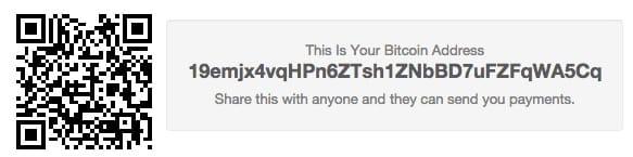Exemplo de endereço bitcoin