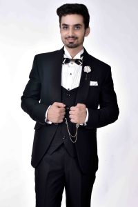 black three piece tuxedo for men