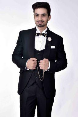 black three piece tuxedo for men