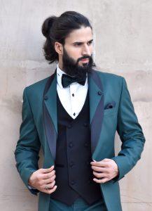 green three piece tuxedo
