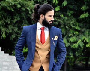 contrast waistcoat for men
