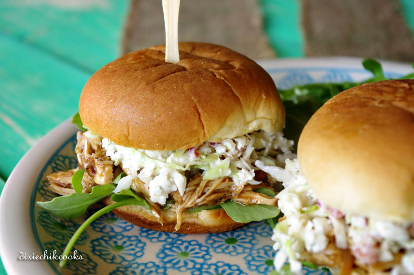 Jerk Chicken Sliders with Gorgonzola Slaw