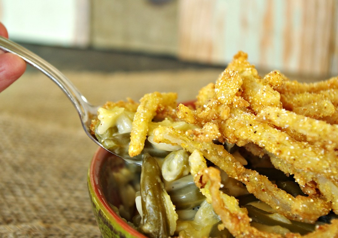 White Cheddar Green Bean Orzo Casserole with Fried Onions Strings