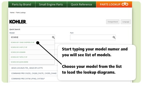 small resolution of when you get to powermowersales com use the model information to load the parts diagrams you need