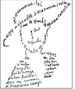 """Ett """"calligramme"""" av Appolinaire"""
