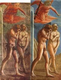 Masaccio - Utdrivningen ur paradiset, före och efter restaureringen