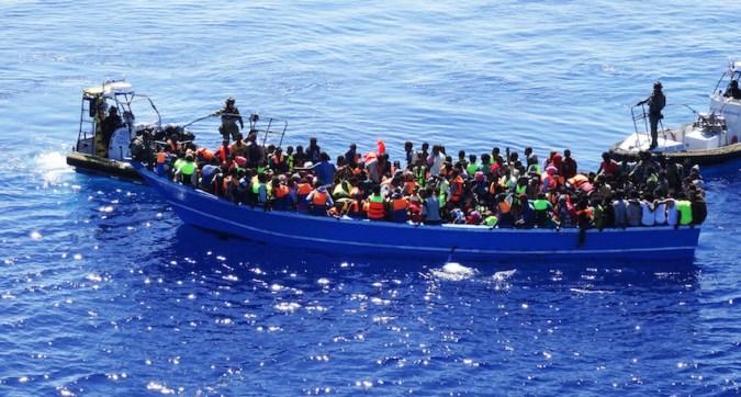 Bild från Kustbevakningen under Operation Triton i Medelhavet
