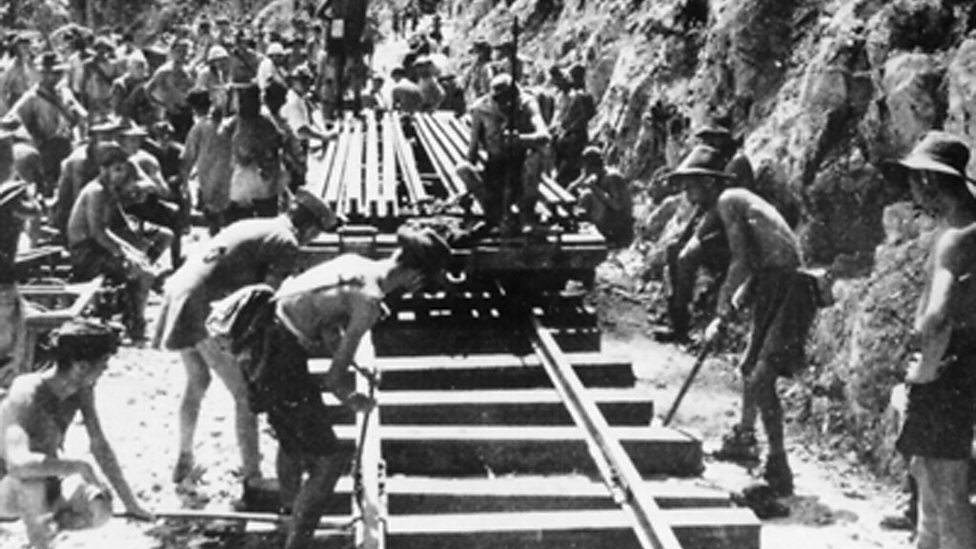 Australiska krigsfångar under arbetet med The Death Railway (BBC)