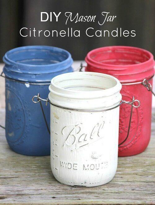 Mason Jar Citronella Candles