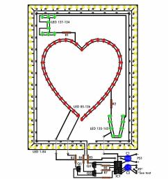 the flashing heart circuit diagrams schematics electronic projects wiring diagram for blinking lights project [ 850 x 1100 Pixel ]