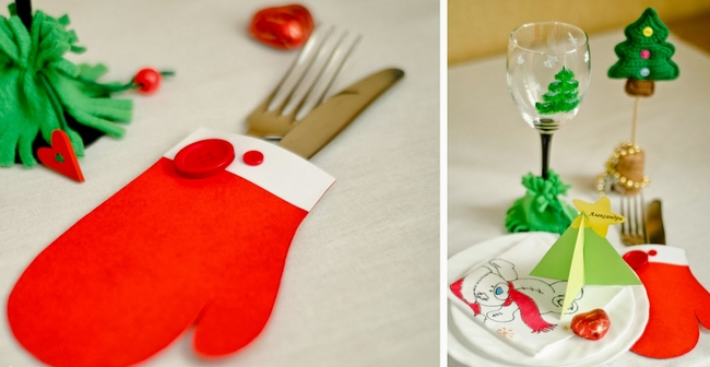 diy christmas table decor paper mittens cutlery holders