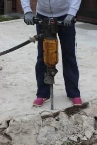 breaking up a concrete slab - breaker