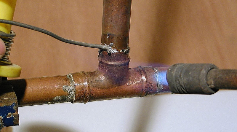 soldering capillary joints in copper pipe