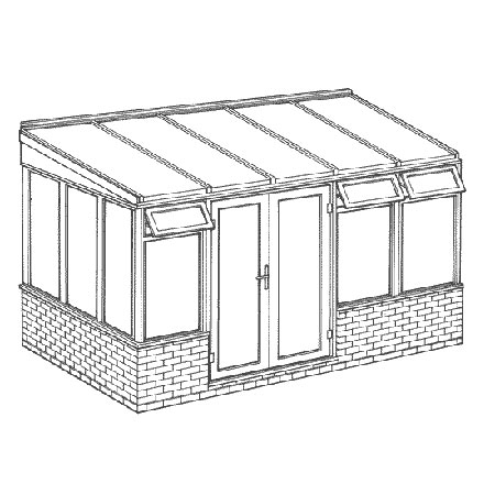 Lean-to Dwarf Wall Conservatory 3901mm width x 2338mm