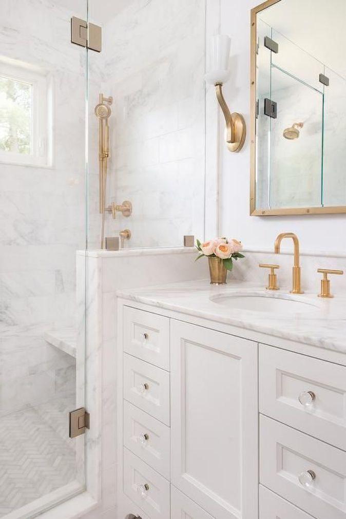 White gold flowers bathroom diy