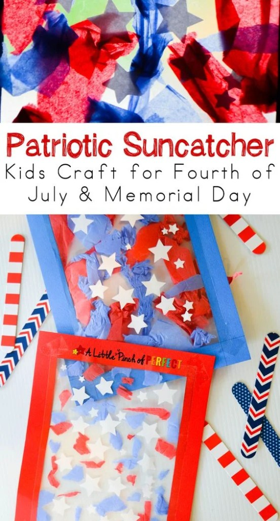 These patriotic suncatchers are so easy and cute! Great for kids!