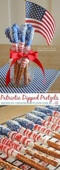These patriotic pretzels DIYs look so cute and delicious!