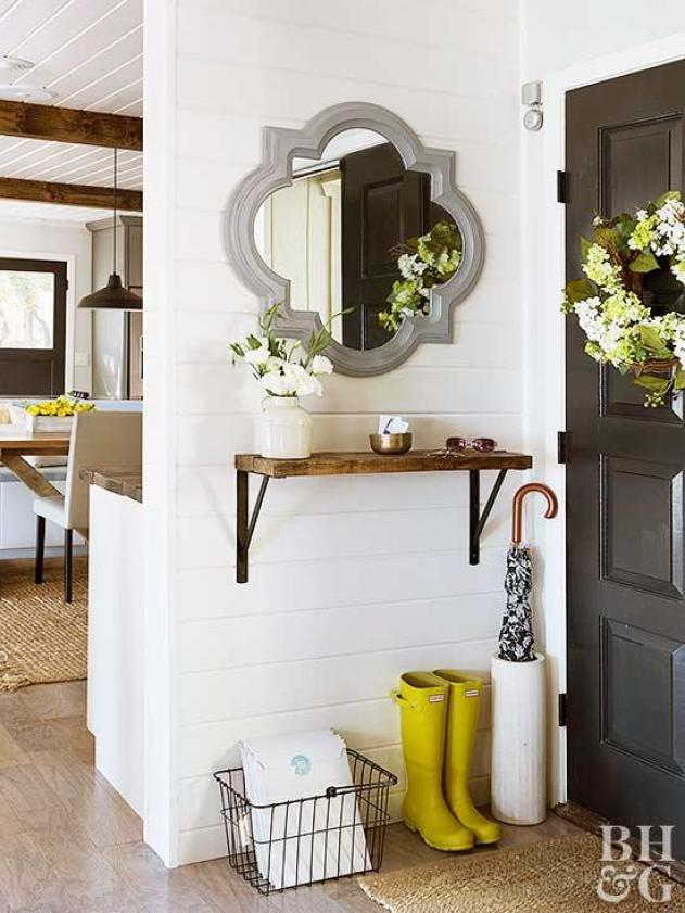 Simple Shelf Solution for Mudroom Entryway That's Small