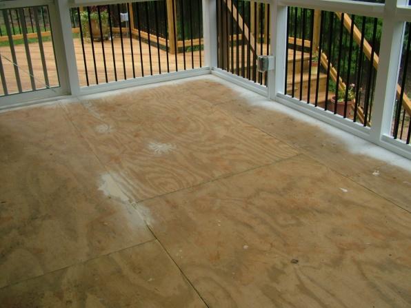 screen porch tile cdx subflooring diy