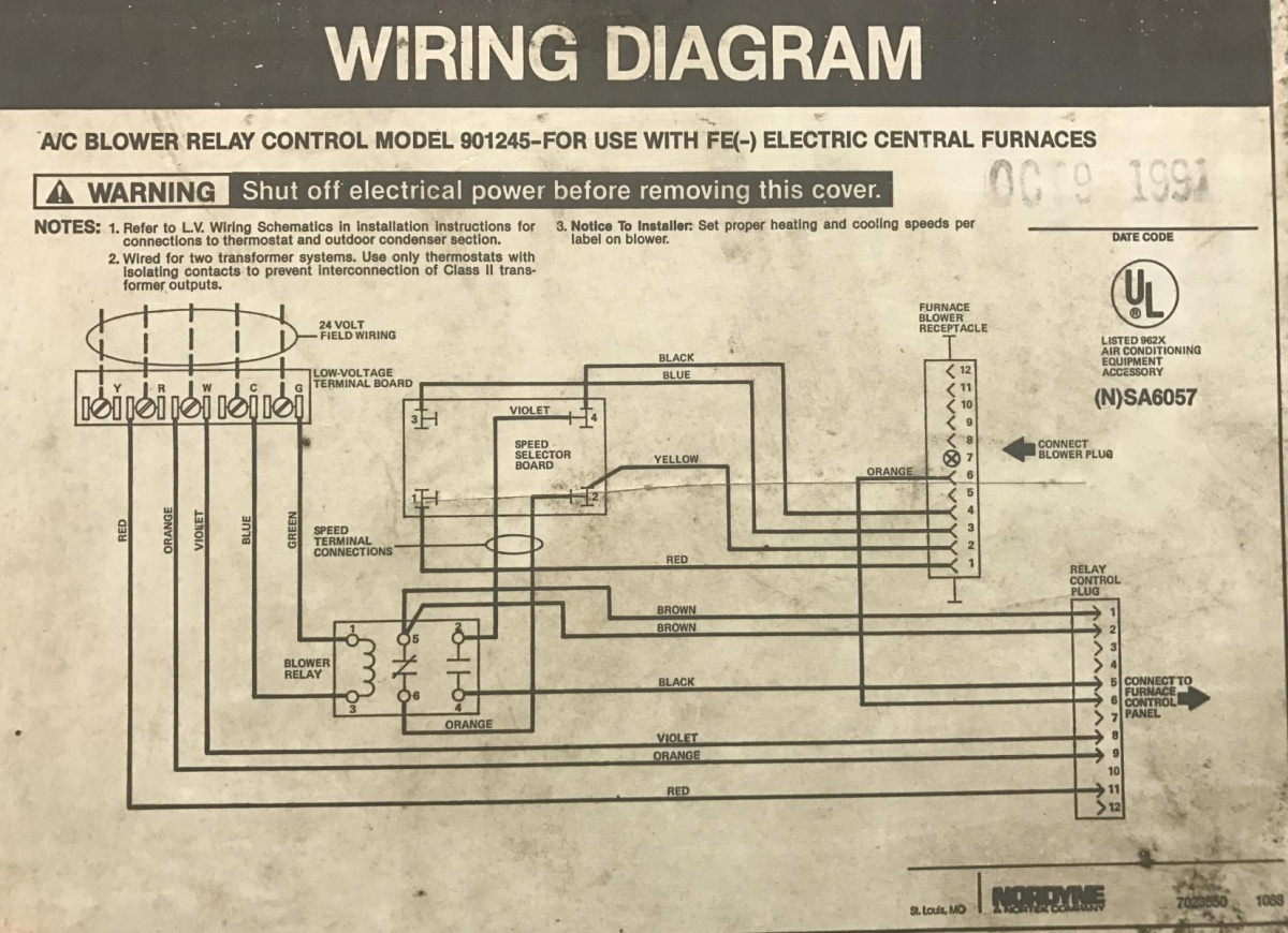 fan relay wiring diagram hvac gibson les paul 3 pickup 1991 intertherm nordyne furnace with added ac split system