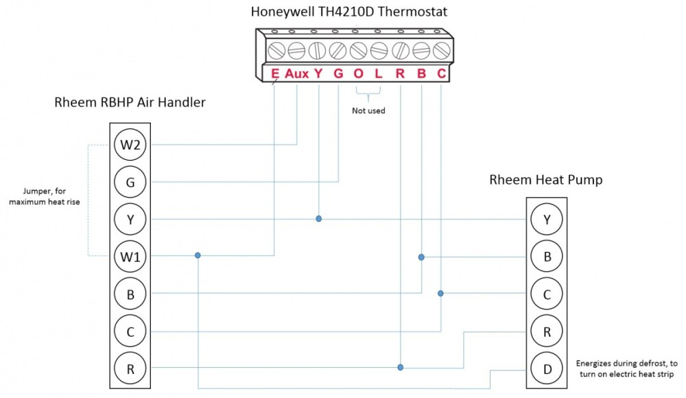 medium resolution of honeywell t stat rheem heat pump l e aux w1 w2 wiring honeywell thermostat wiring for rheem heat pump