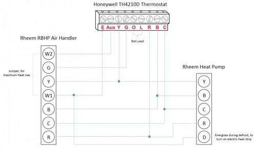 small resolution of honeywell t stat rheem heat pump l e aux w1 w2 wiring honeywell thermostat wiring for rheem heat pump