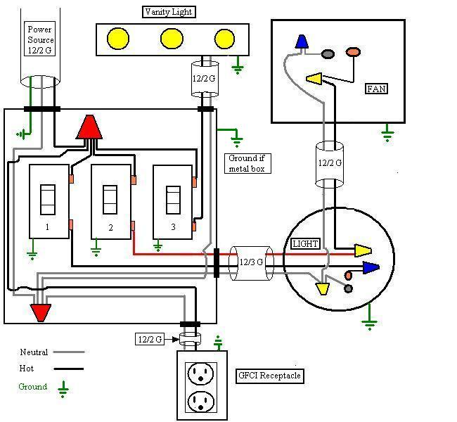 triple light switch wiring diagram together with bathroom fan light