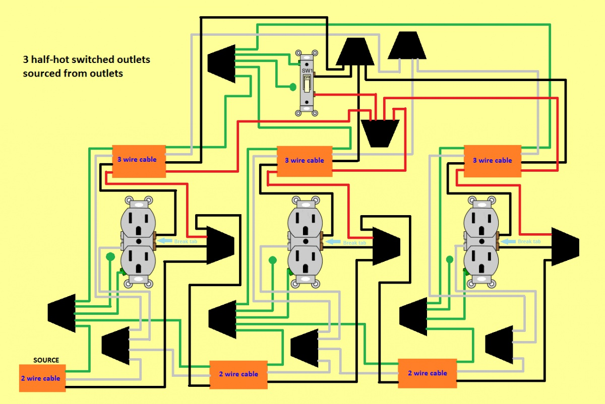 wiring diagram for half switched outlet 2016 chevy sonic stereo 3 hot outlets 1 switch electrical diy chatroom