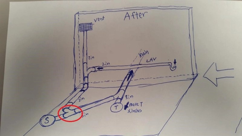 Diagram For Sink Plumbing Adding New Shower Drain To Toilet Drain W Layout Pics