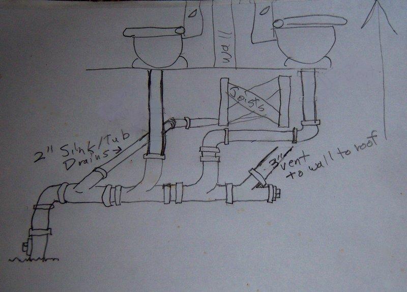 attic plumbing diagram capacitor start run motor wiring 2 toilet vent ok this way? - diy home improvement | diychatroom
