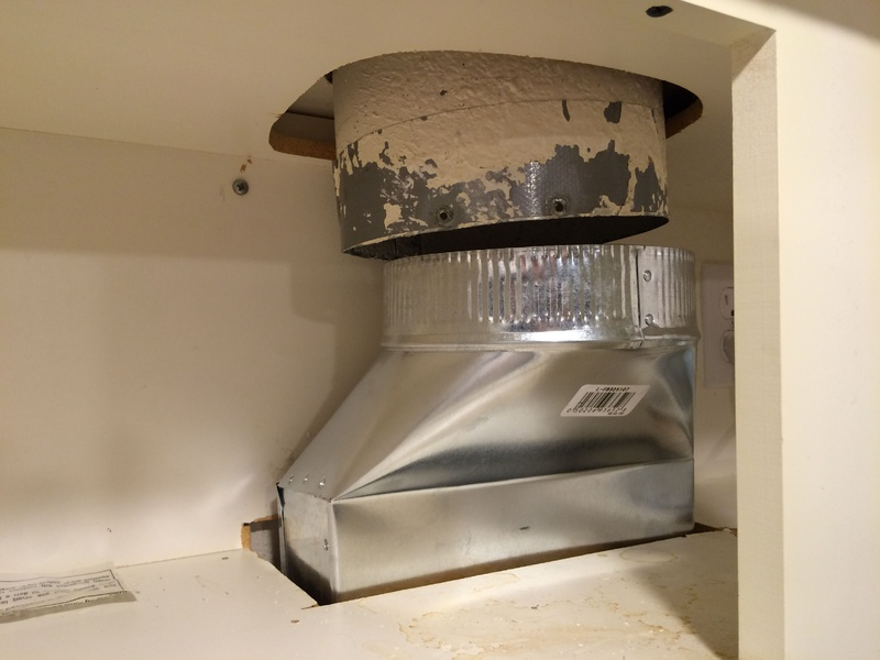 ducting above microwave vent not
