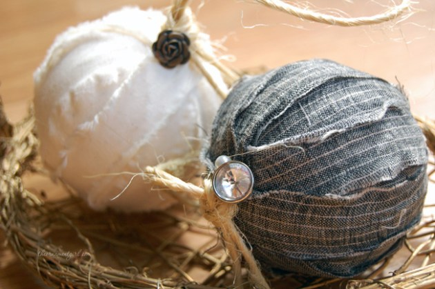 DIY Rag Ball Christmas Ornament