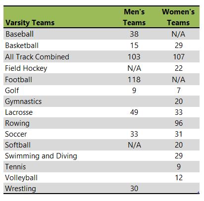 Rutgers University athletic team listing