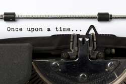 Typewriter with text once upon a time representing Top 10 Mistakes Students Make on their College Application Essays