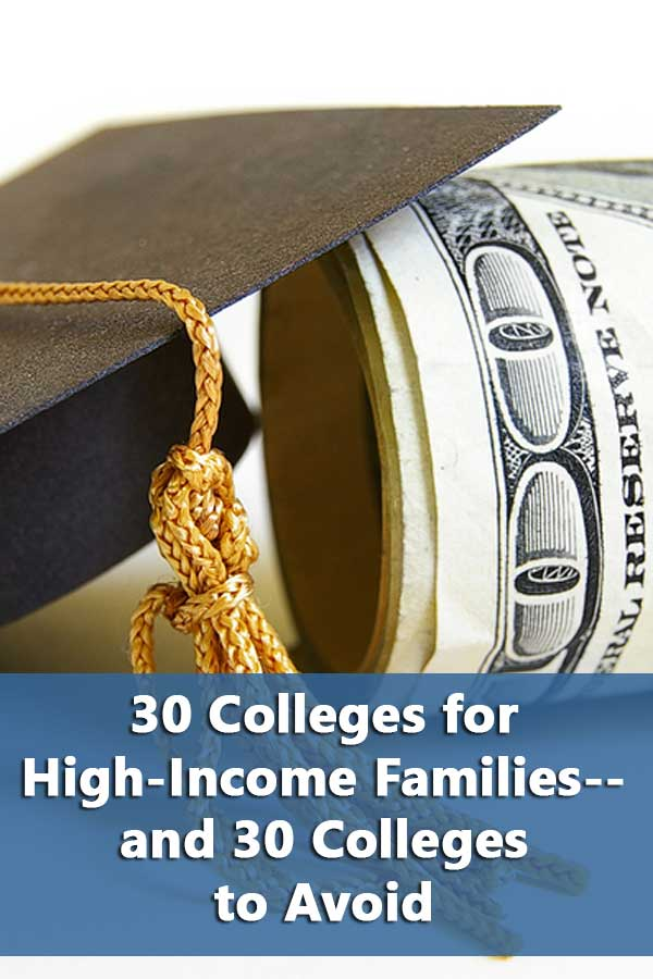 40 colleges for high-income students and 40 to avoid based on average net price.
