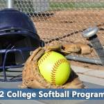Softball glove and ball representing d2 softball colleges
