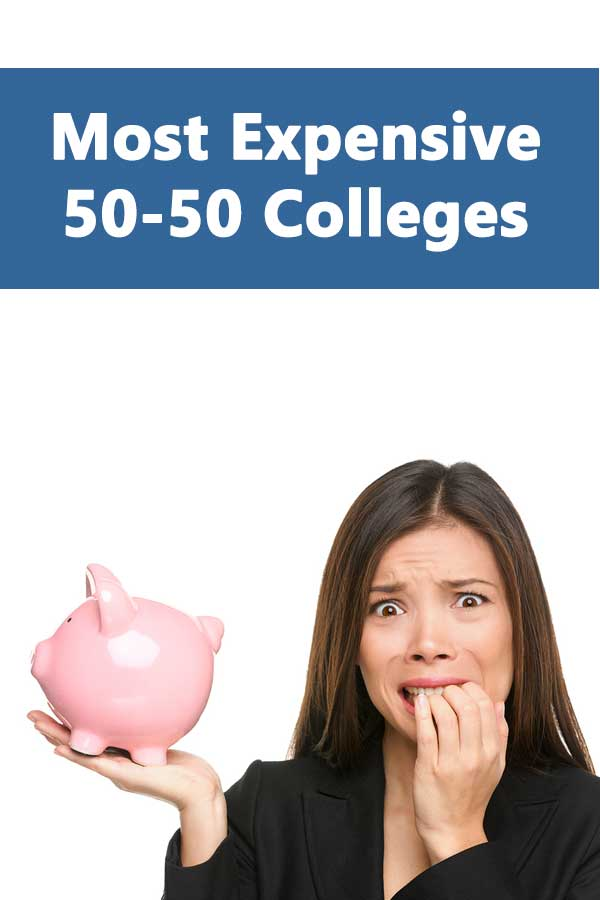 Listing of most expensive colleges that accept at least 50% of applicants and have at least a 50% graduation rate.