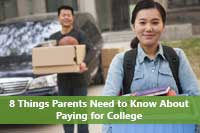 Student happy because parents paying for college