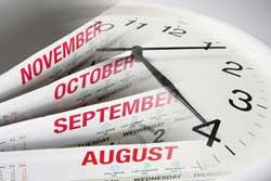calendar and clock representing college softball recruiting timeline