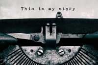 "Text ""This is my story"" on old type writer representing how parents can help on college application essays"