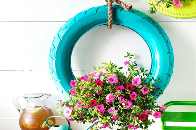 hanging tire planter DIY ideas