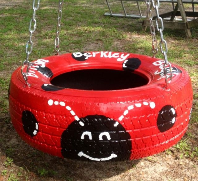 lady bug tire swing for kids