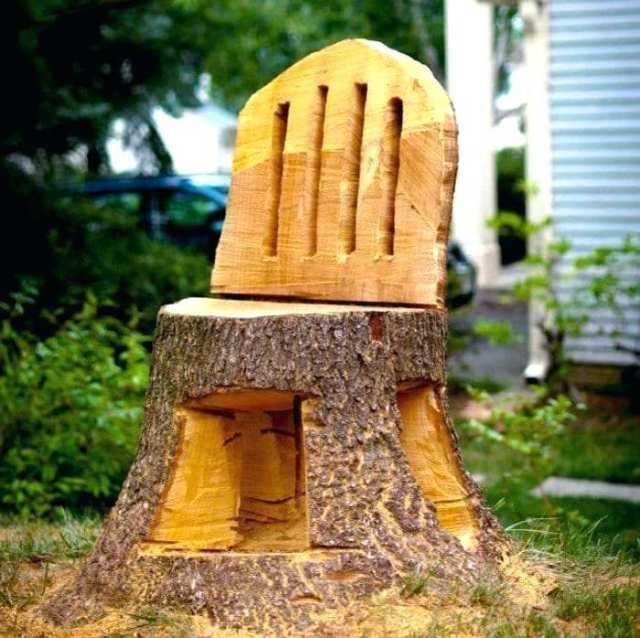 how to transform tree stump into chair
