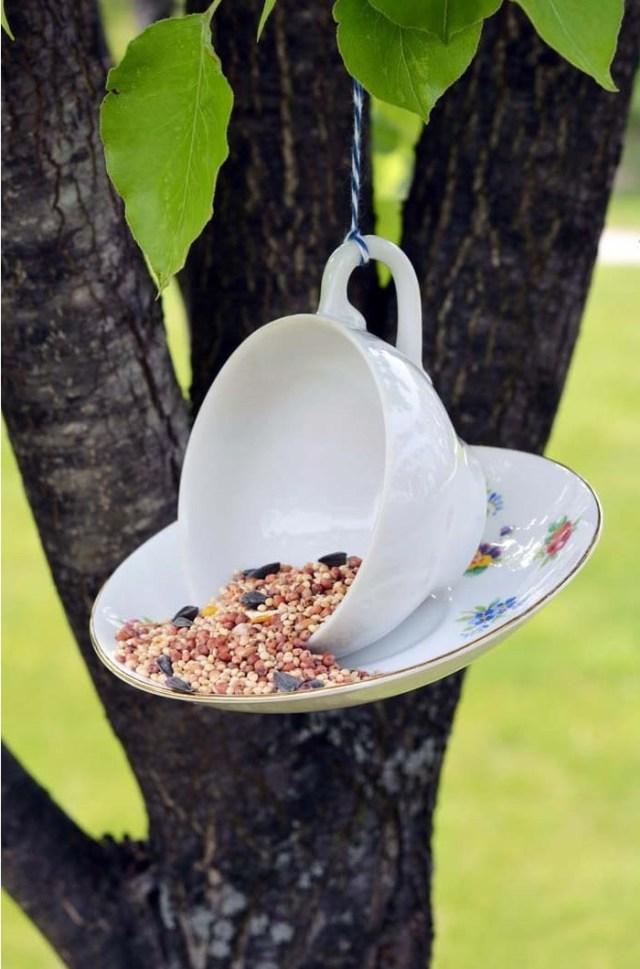 DIY Hanging Teacup Bird-Feeder