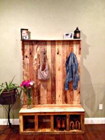 Diy Pallet Hall Tree Wood Entryway Bench