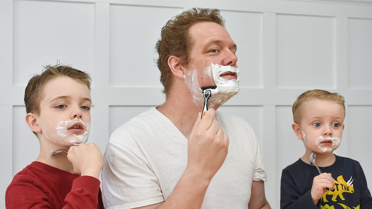Shaving with my two sons.