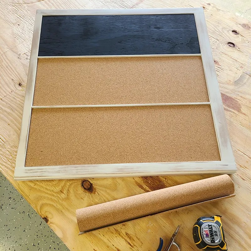 Using cork roll for the window sash note board.