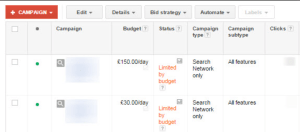 AdWords Limited by Budget