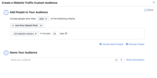 Facebook Website Traffic Custom Audiences